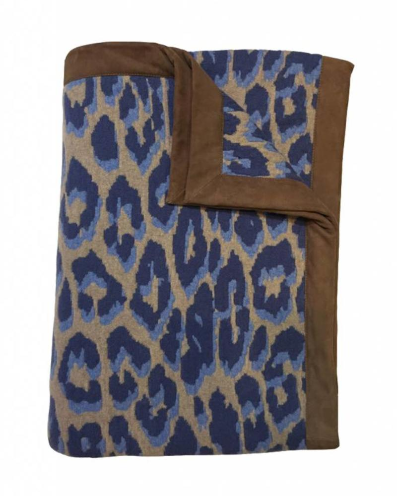 "CASHMERE BLEND LEOPARD THROW WITH SUEDE BORDER: 52"" X 75"": AZURE"