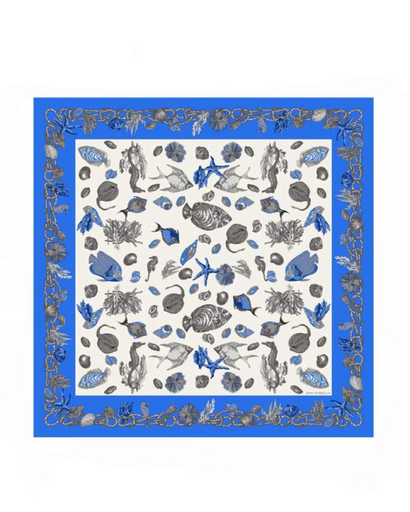 "SEA SHELLS LINEN SCARF: 48""X48"": BLUETTE"