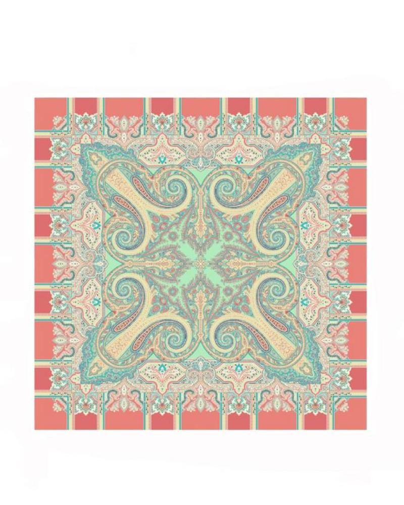 PRINTED CASHMERE SCARF: SALMON