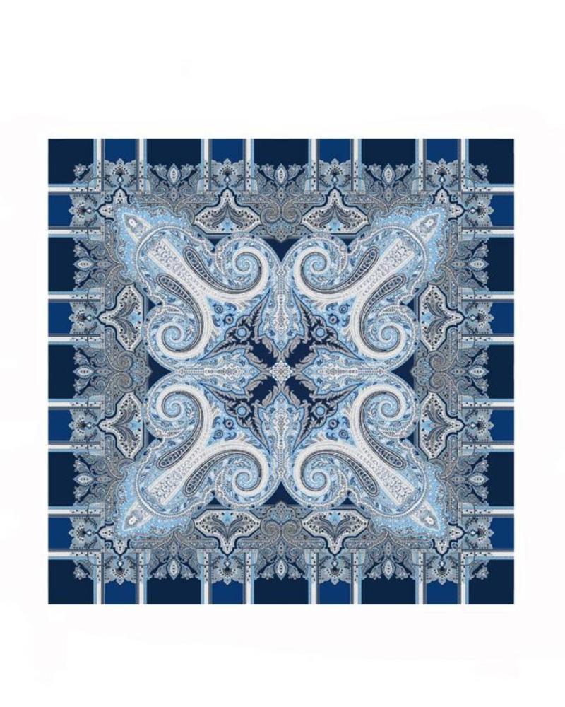 PRINTED CASHMERE SCARF: BLUE