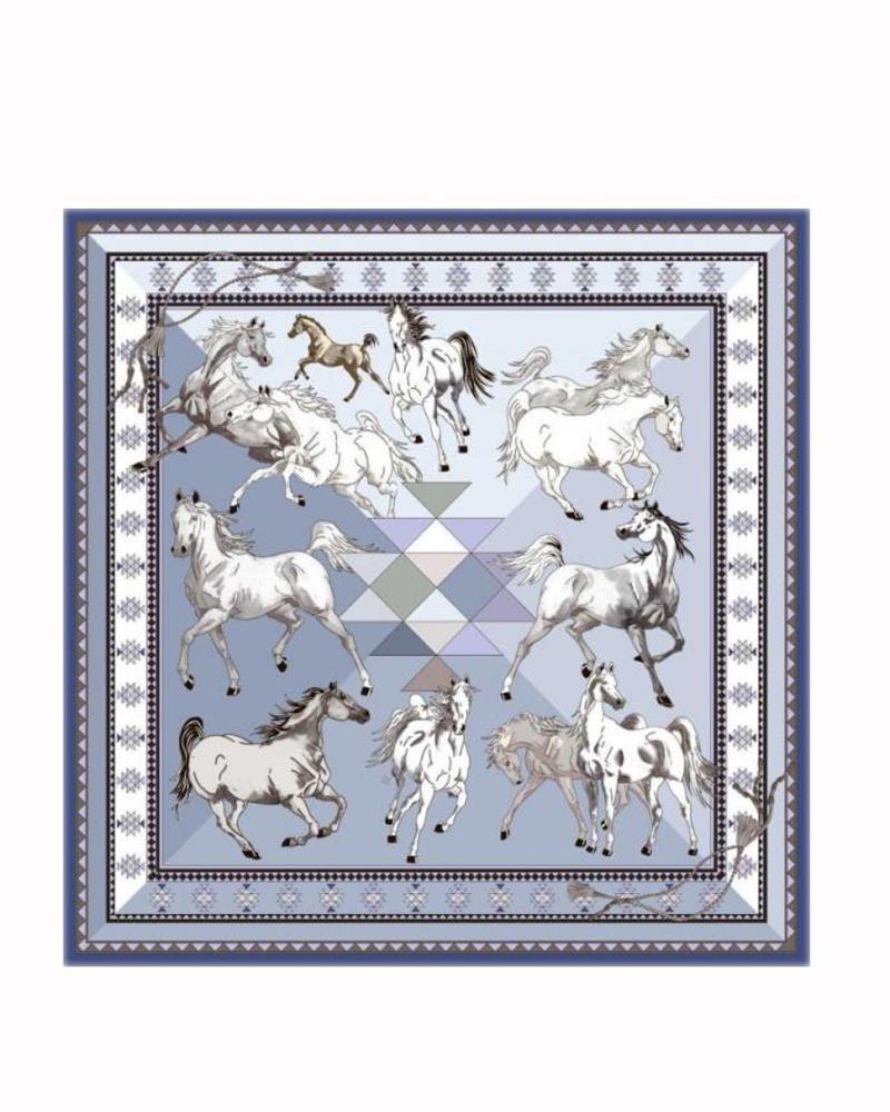 PRINTED CASHMERE SCARF: AZTEC HORSES: BLUE
