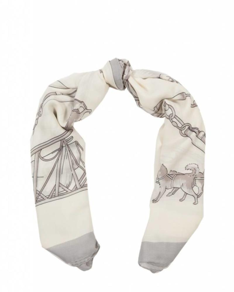 PRINTED CASHMERE SCARF: WOLF: SILVER-IVORY