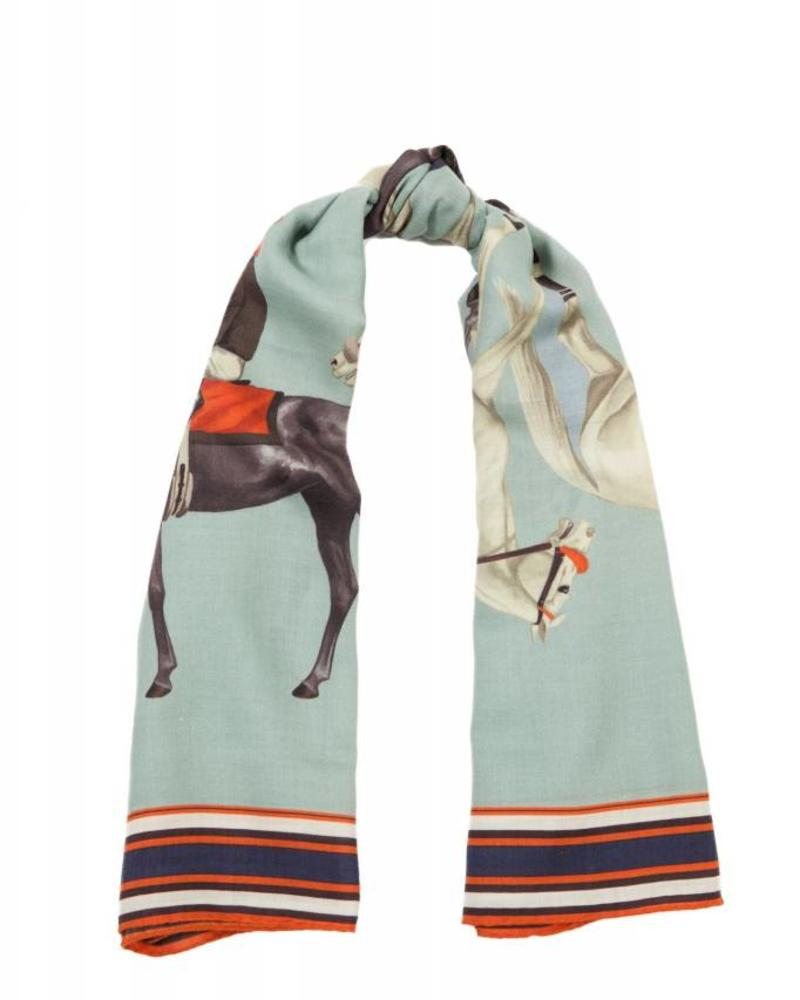 PRINTED CASHMERE SCARF: POLO: TEAL