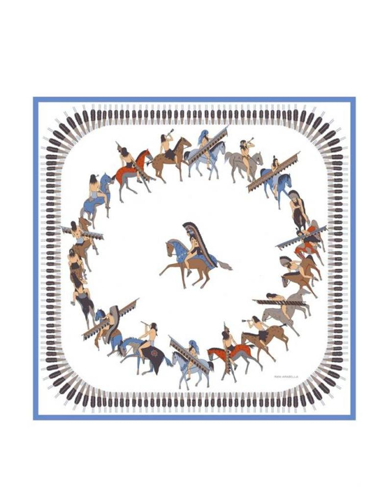 CASHMERE PRINTED SCARF: AMERICAN INDIAN: IVORY - BLUE