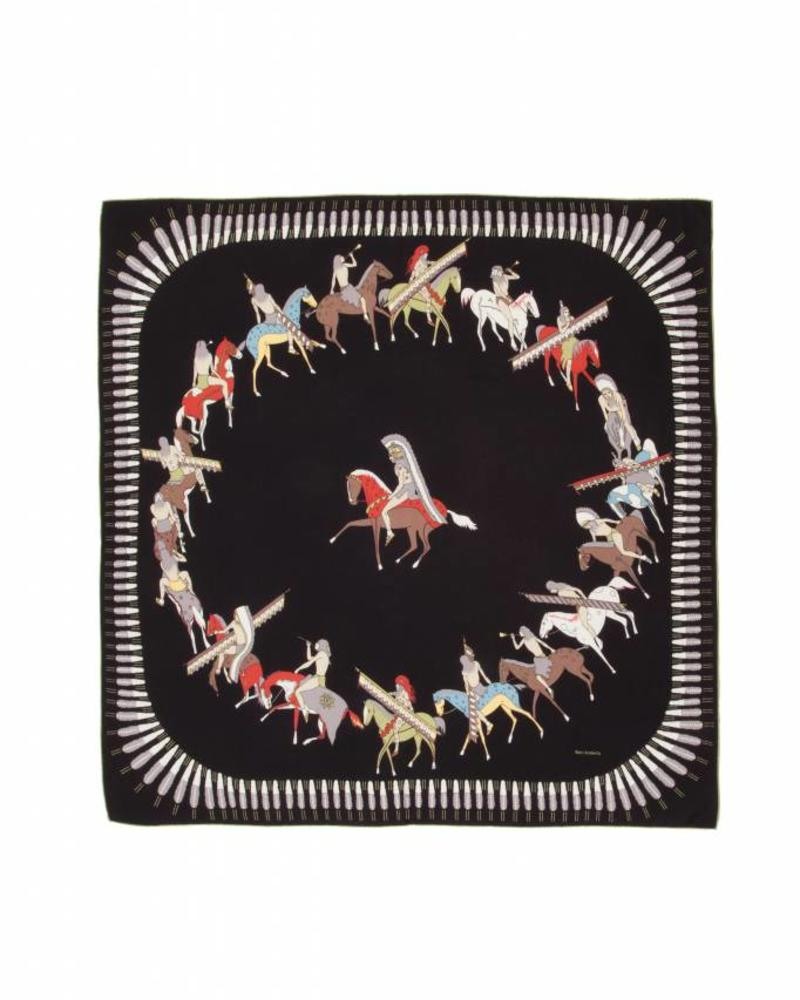 CASHMERE PRINTED SCARF: AMERICAN INDIAN: BLACK