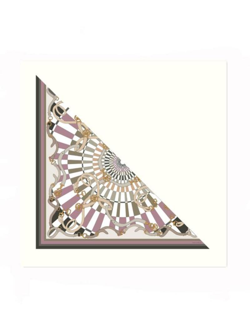FIRENZE BROWN SILK PRINTED TRIANGLE - IVORY CASHMERE SCARF