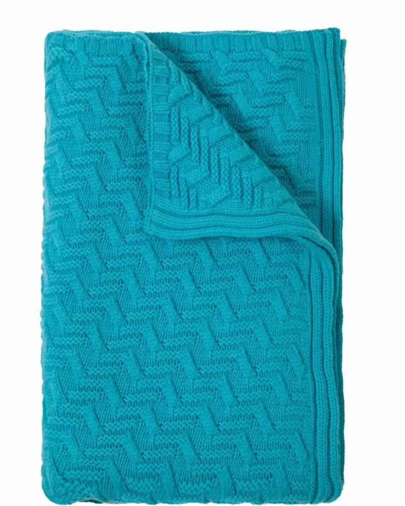 "TORINO CASHMERE KNITTED TRIANGLE DESIGN THROW: 50"" X 72"": TURQUISE"