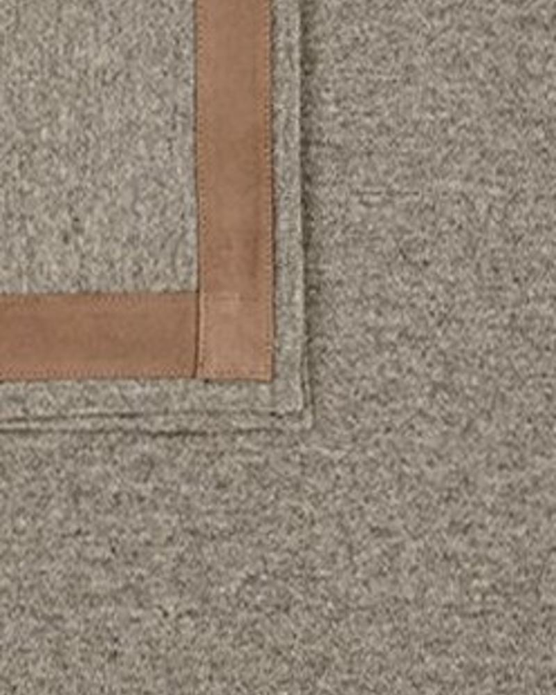 "PALERMO CASHMERE THROW WITH SUEDE BORDER: 50"" X 70"": GRAY"