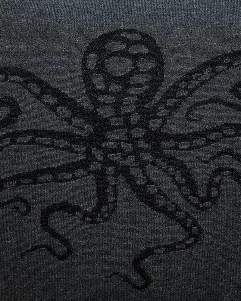 "OCTOPUS CASHMERE-LUREX PILLOW: 21"" X 21"": CHARCOAL-BLACK"
