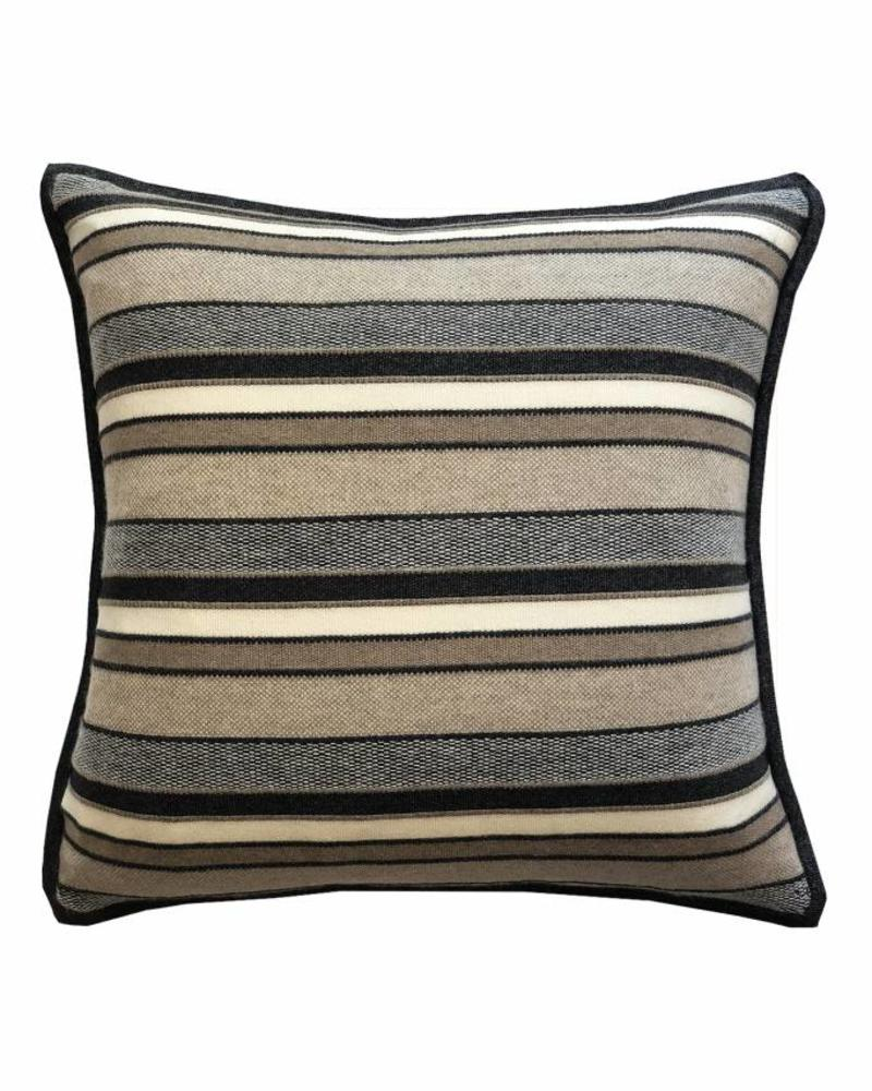 "CASHMERE KENT STRIPE JACQUARD PILLOW: 21"" X 21"": ANTHRACITE-TAUPE"