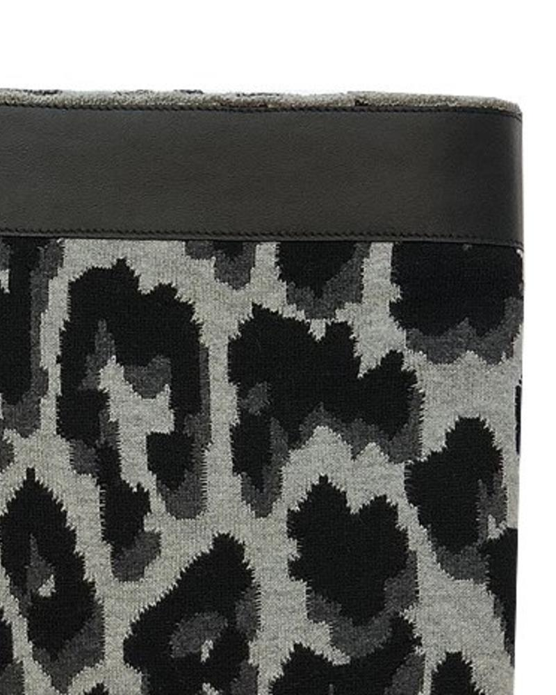 """COTTON KNITTED LEOPARD THROW WITH SUEDE BORDER: 52"""" x 75"""" :  BLACK"""