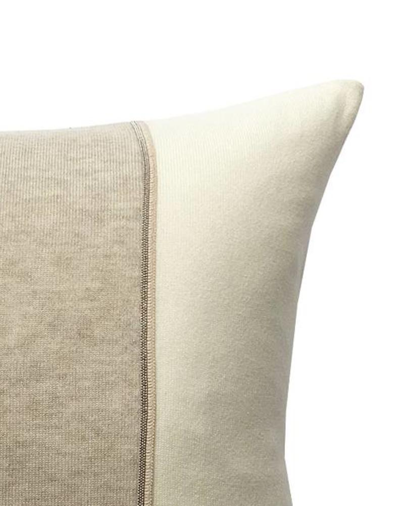 "RUBINO KNITTED TWO-TONE PILLOW W/ JEWEL DETAIL: 17"" X 17"": IVORY-BEIGE"