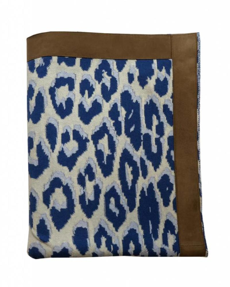 """COTTON KNITTED LEOPARD THROW WITH SUEDE BORDER: 52"""" x 75"""" :  BLUE"""