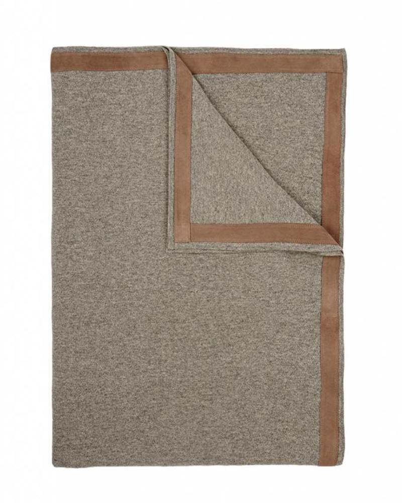 "PALERMO CASHMERE THROW WITH SUEDE BORDER: 50"" X 72"": GRAY"
