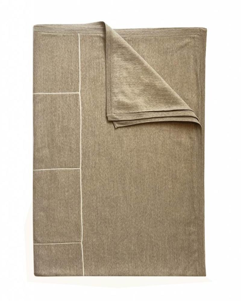 "CORTINA SQUARES THROW: 50"" X 72"": BEIGE-IVORY"