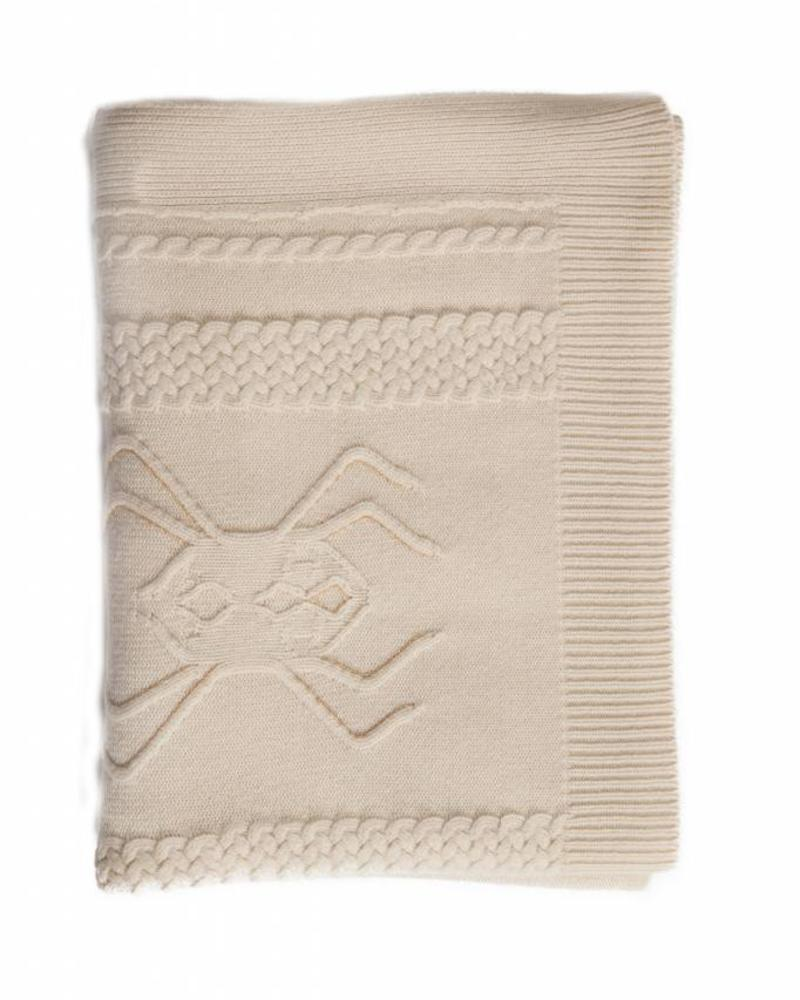 """CASHMERE INTARSIA SPIDER KNITTED THROW: 52"""" X 72"""": IVORY"""