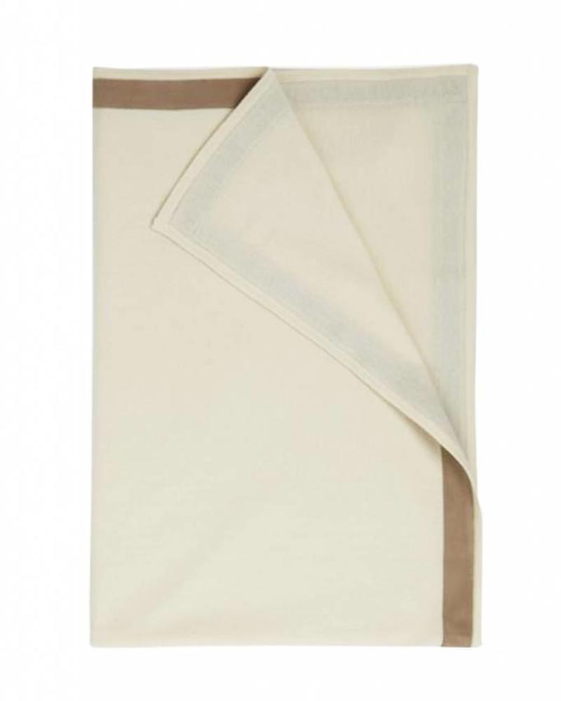 "PALERMO CASHMERE THROW WITH SUEDE BORDER: 50"" X 72"": IVORY"
