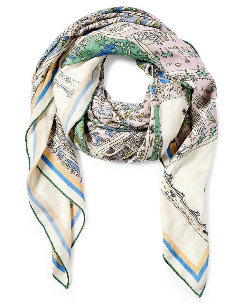 PRINTED CASHMERE SCARF: PALM BEACH: LILAC-GREEN
