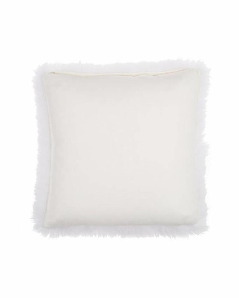 "CASHMERE PILLOW WITH FUR: 17"" X 17"": IVORY"