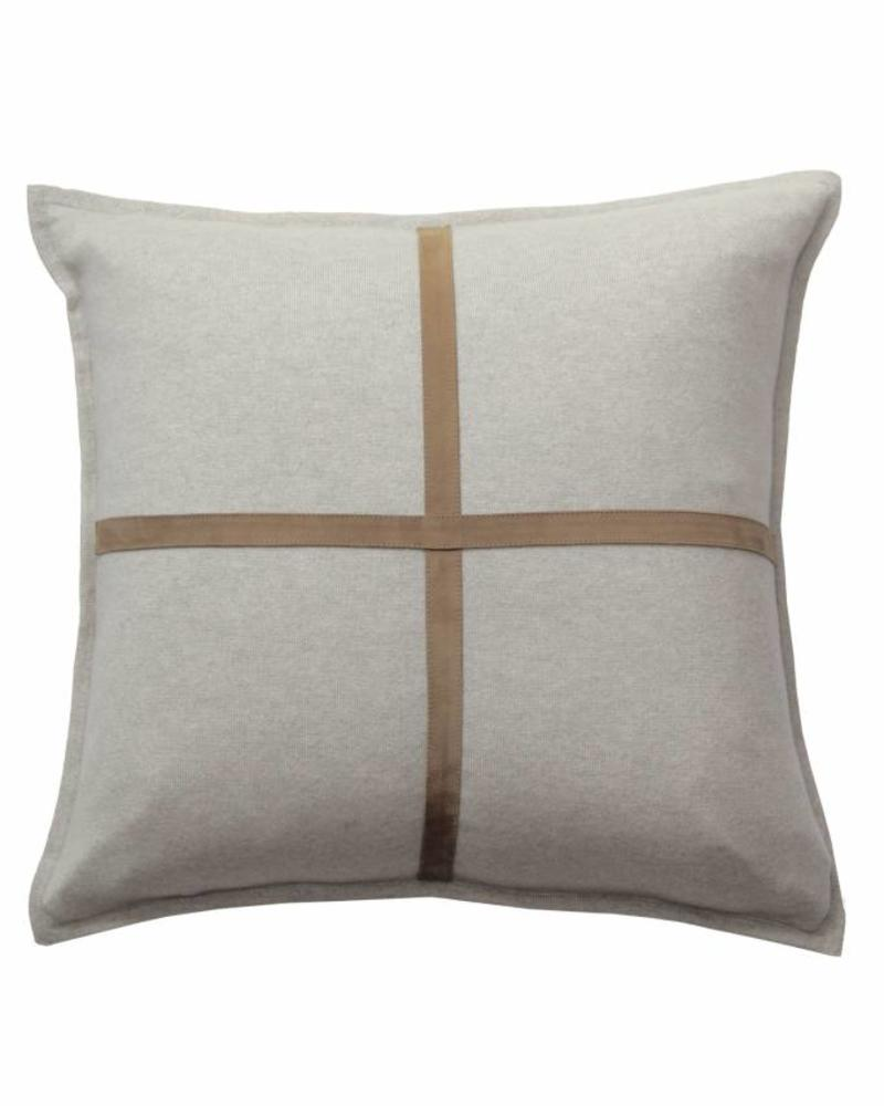 "PALERMO CASHMERE PILLOW WITH CROSS SUEDE: 21"" X 21"": PEARL"