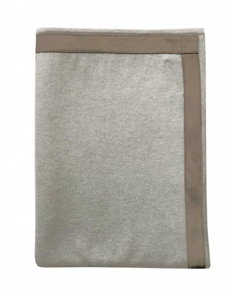 """PALERMO CASHMERE THROW WITH SUEDE BORDER: 50"""" X 70"""":  PEARL"""