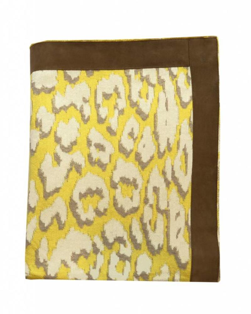 "COTTON KNITTED LEOPARD THROW WITH SUEDE BORDER: 52"" x 75"" :  YELLOW"