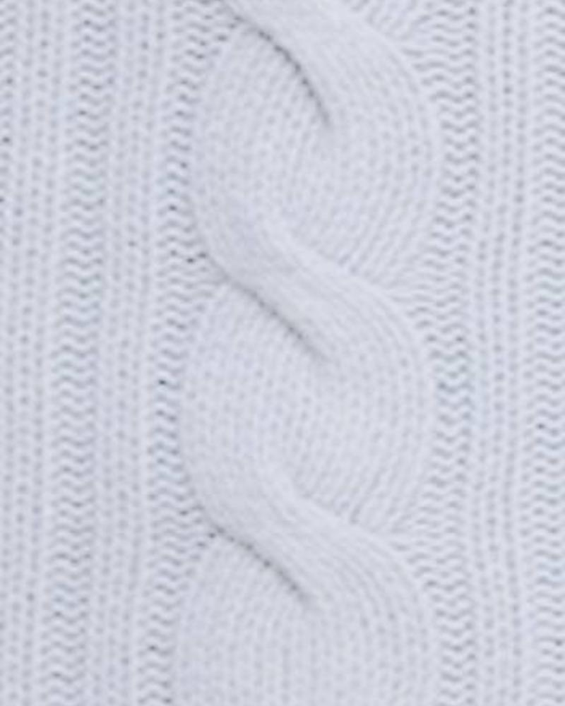 "CASHMERE ROMA CABLE KNIT THROW: 50"" X 72"": LIGHT BLUE"