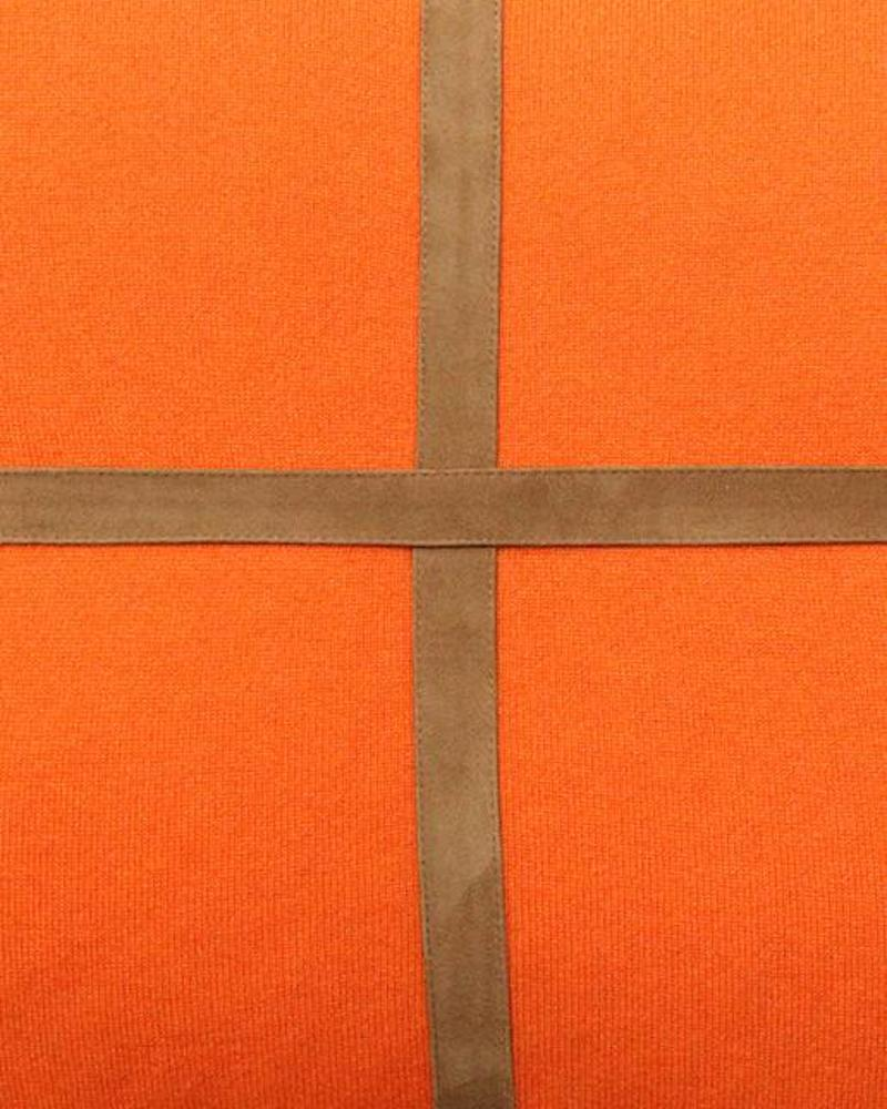 """PALERMO CASHMERE PILLOW WITH CROSS SUEDE: 21"""" X 21"""": ORANGE"""
