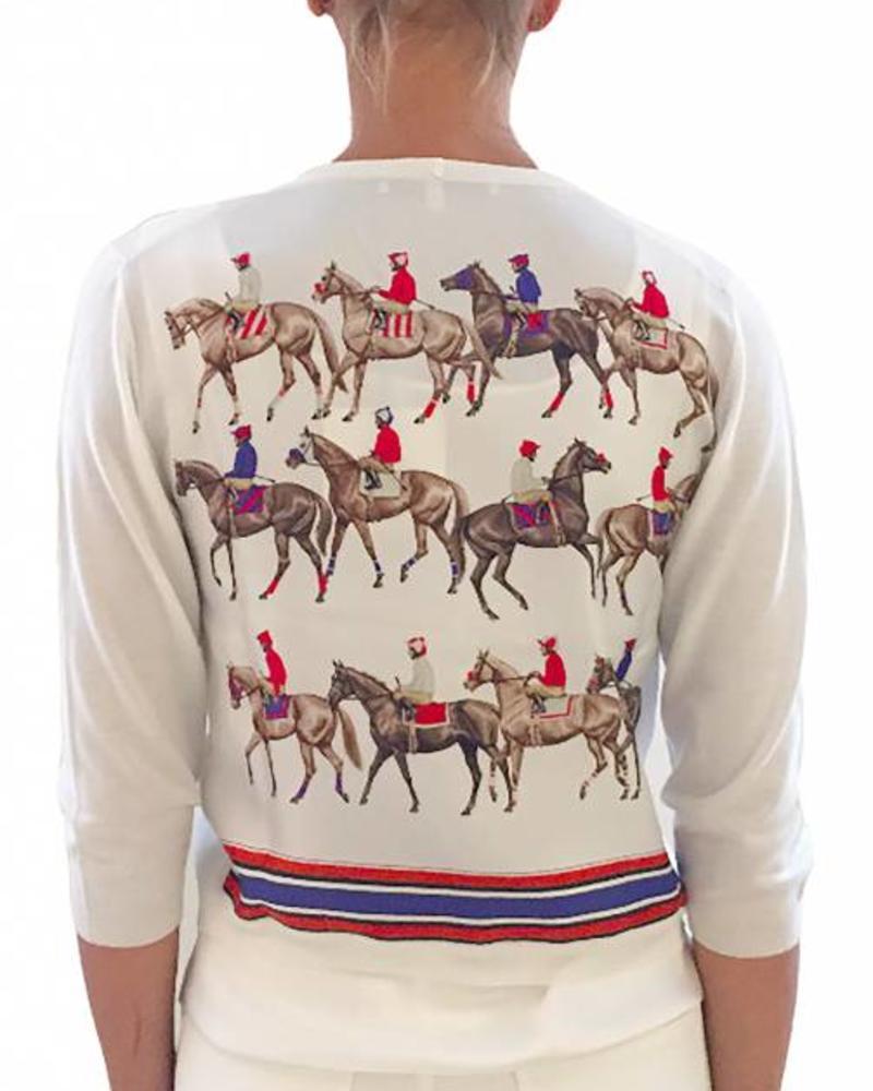 PRINTED SILK SCARF CARDIGAN: HORSES: IVORY