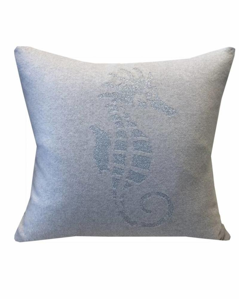 "SEAHORSE CASHMERE-LUREX PILLOW: 21"" X 21"": PEARL-RIGHT"
