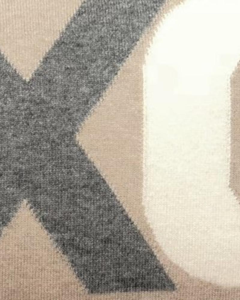 "XOXO PILLOW: 16"" X 24"": GRAY-SAND-IVORY"