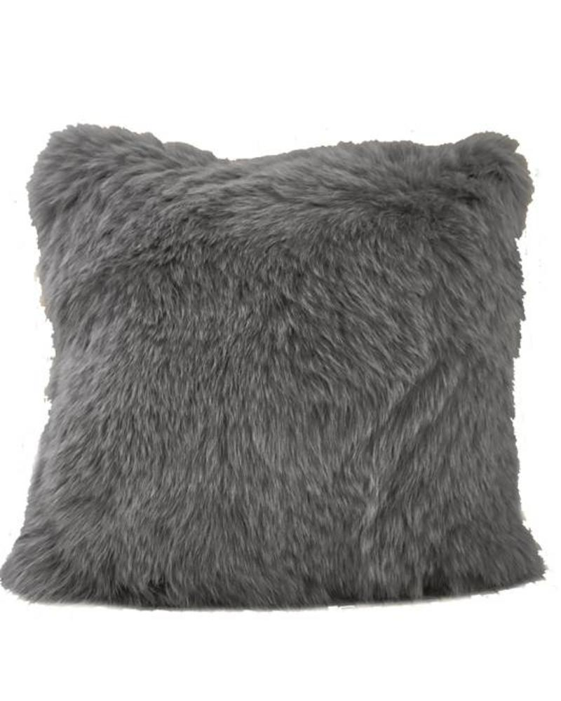"CASHMERE PILLOW WITH FUR: 17"" X 17"": ANTHRACITE"