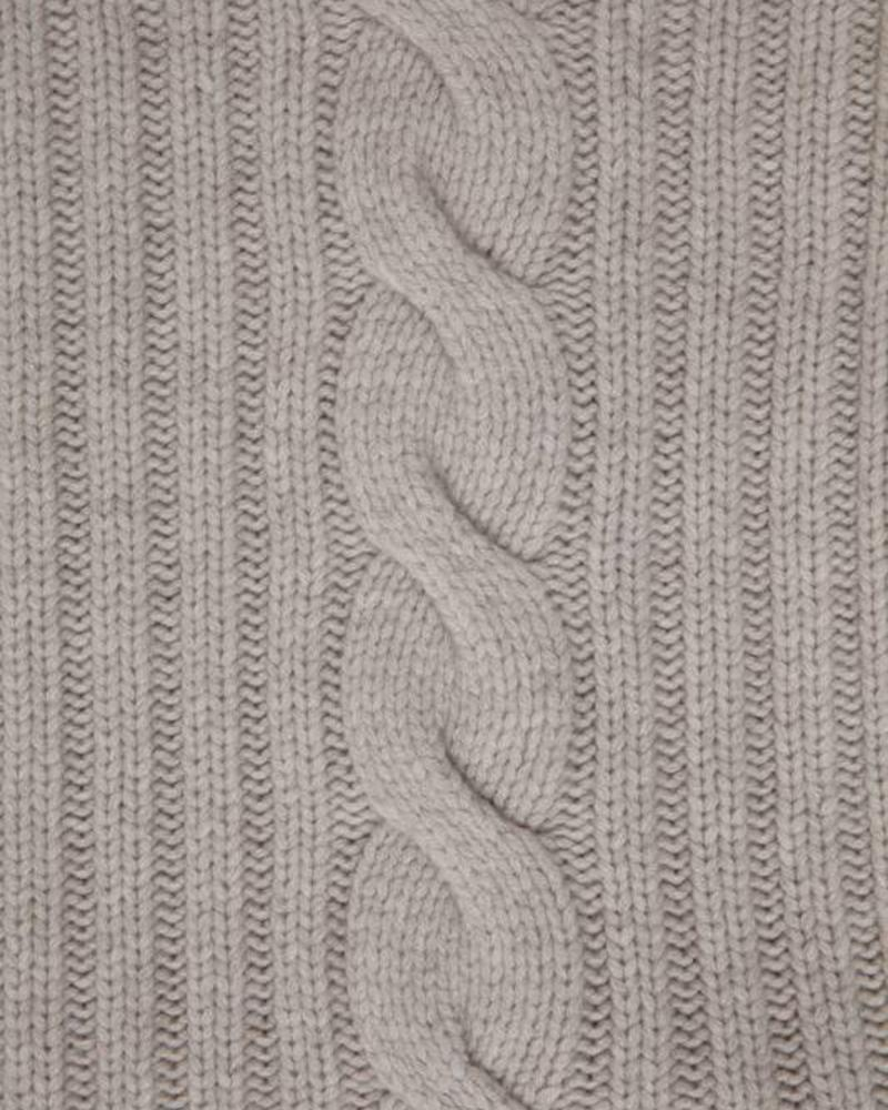 "CASHMERE ROMA CABLE KNIT THROW: 50"" X 72"": PEARL GRAY"