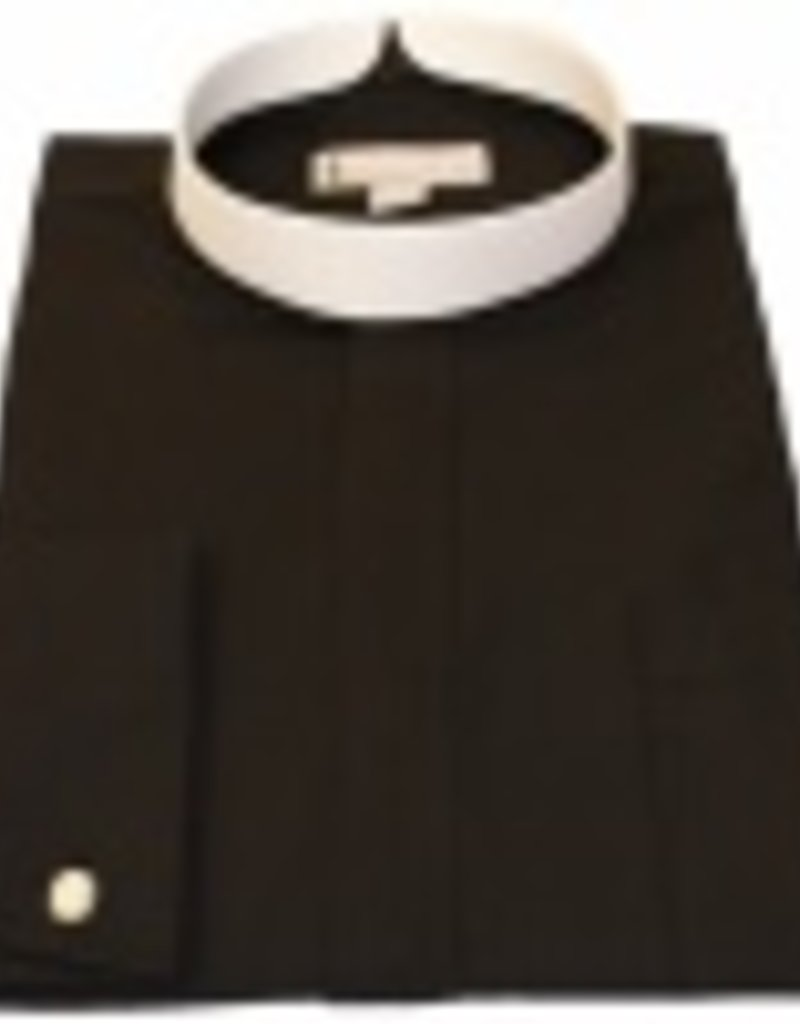 Joyful Clothing Men's long sleeve full collar banded clergy shirt black 17 -17.5 in   36/37