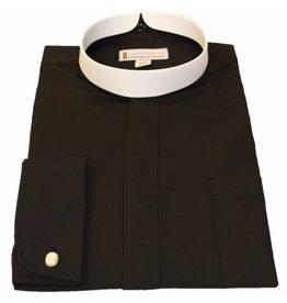 201 Men's long sleeve full collar banded clergy shirt black 17 -17.5 in (4X-Large)  36/37