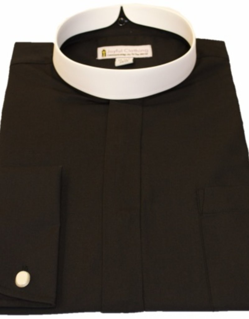 Joyful Clothing 201. Men's long sleeve full collar banded clergy shirt black 17 -17.5 in   36/37