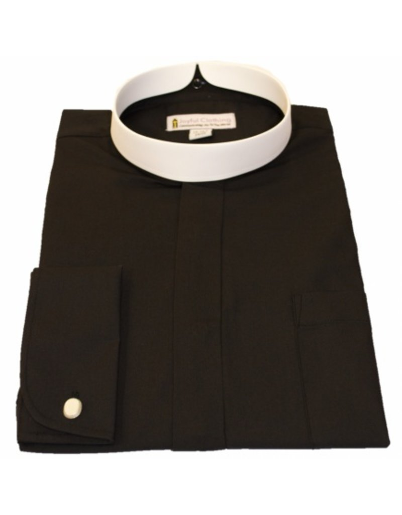 201 Men's long sleeve full collar banded clergy shirt black 17 -17.5 in (4X-Large)  36/37