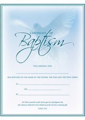 Warner Press Certificate Baptism Blue Dove