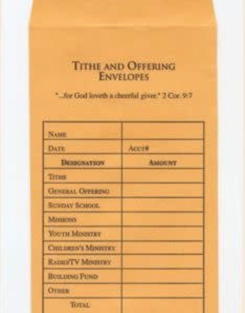 Offering Envelope-Tithe & Offering (Bill-Size)-Goldenrod (Pack Of 100)