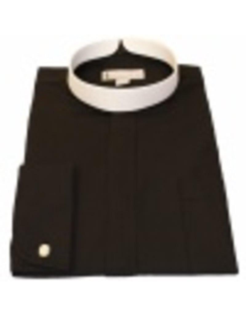 201 Men's long sleeve full collar banded clergy shirt black 20in (4X-Large)  36/37