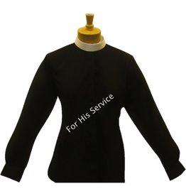 Joyful Clothing 601. WOMEN'S LONG-SLEEVE (BANDED) FULL-COLLAR CLERGY SHIRT - BLACK sz 18