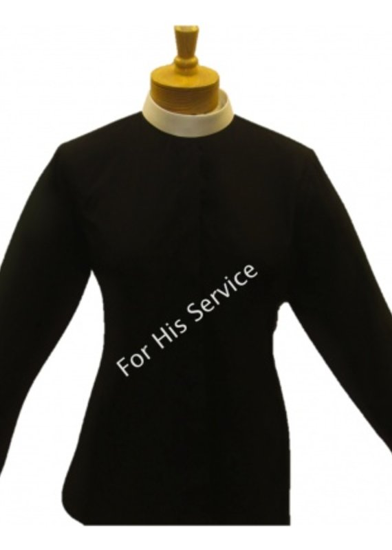 Joyful Clothing 601. WOMEN'S LONG-SLEEVE (BANDED) FULL-COLLAR CLERGY SHIRT - BLACK sz 18