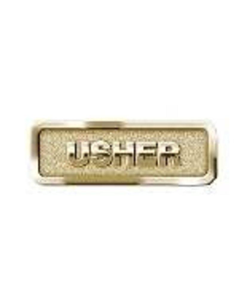 """Badge-Usher-Magnetic Back-Brass (2-1/16"""" x 2/3"""")"""