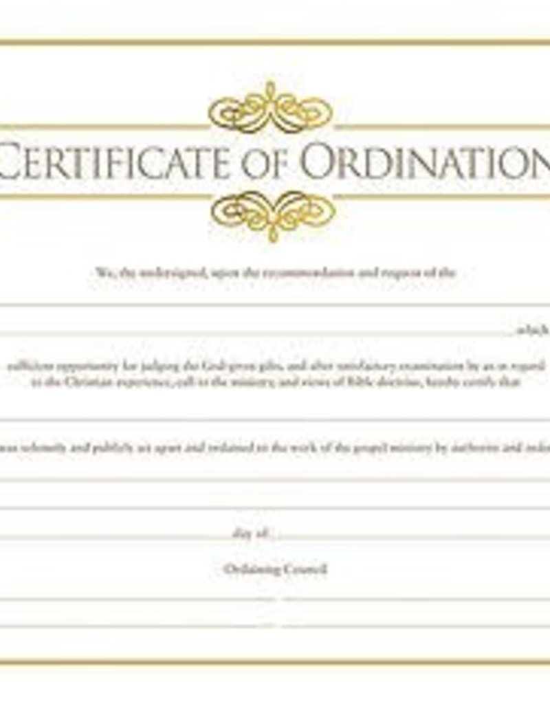 Certificate of Ordination (package of 6)