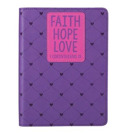 Faith Hope Love (1 Cor. 13:13) Pink Classic LuxLeather Journal