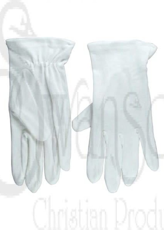 Gloves-Usher Solid White Cotton-XXL