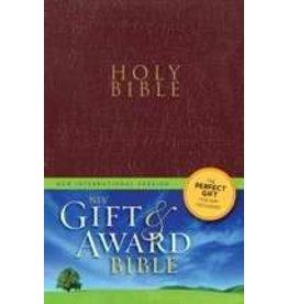 NIV Gift & Award Bible-Burgundy Leather-Look