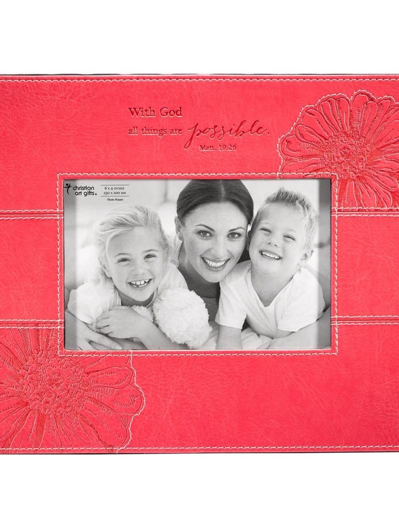 Photo Frame All Things are Possible Faux Leather
