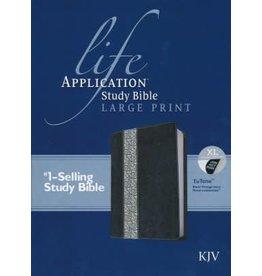 KJV Life Application Study Bible, Large Print Black/Vintage Ivory Floral Indexed Leatherlike
