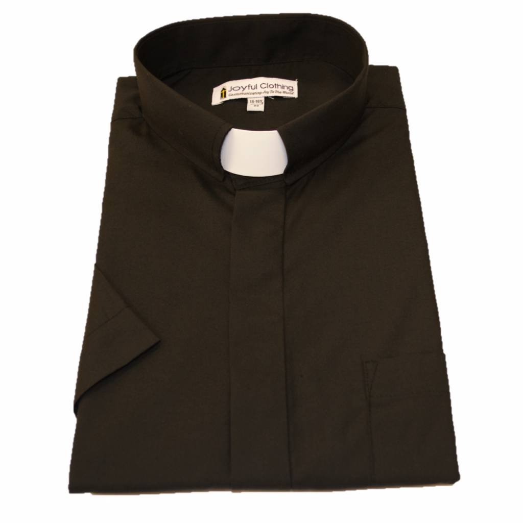 Women's Short-Sleeve Tab-Collar Clergy Shirts Black Size 16